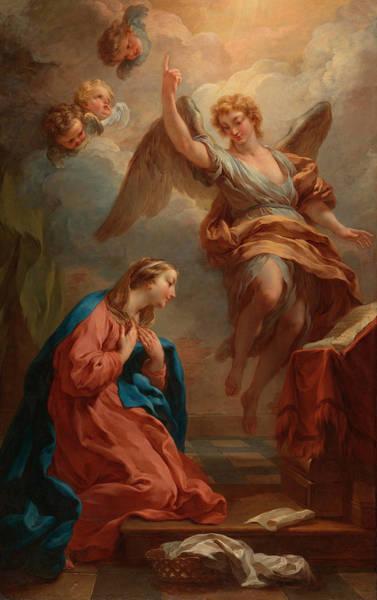 Annunciation Wall Art - Painting - The Annunciation by Francois Lemoyne