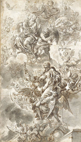 Grey Skies Drawing - The Apotheosis Of Saint Benedict by Johann Andreas Wolf