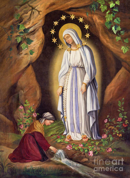 Bernadette Photograph - The Appearance Of Virgin To St. Bernadette by Jozef Sedmak