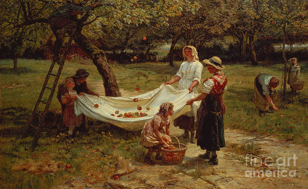 Victorian Garden Wall Art - Painting - The Apple Gatherers by Frederick Morgan