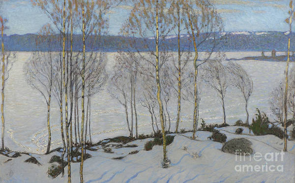 Snow Bank Painting - The Approach Of Spring, 1903 by Bjorn Ahlgrenson