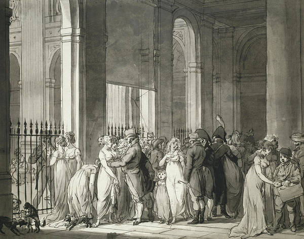 Morality Wall Art - Drawing - The Arcades At The Palais Royal by Louis Leopold Boilly