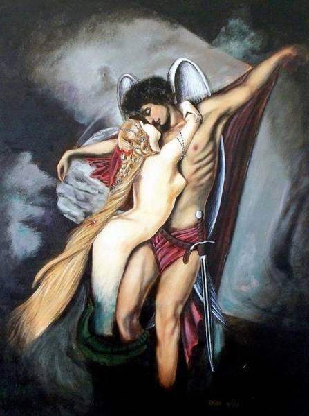 The Arcangel Micheal And  The Mermaid Art Print
