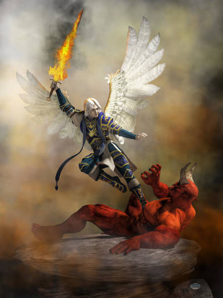 Digital Art - The Archangel Michael by Daniel Eskridge