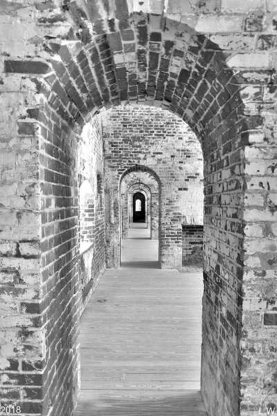 Photograph - The Arches At Fort Macon North Carolina Black And White by Lisa Wooten