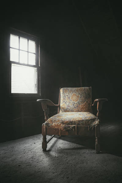 Dusty Photograph - The Armchair In The Attic by Scott Norris