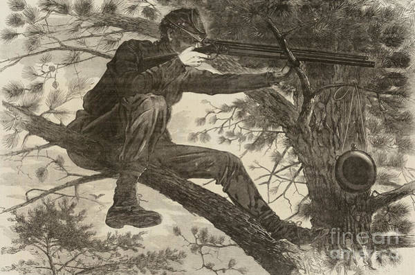 Shooting Drawing - The Army Of The Potomac  A Sharpshooter by Winslow Homer