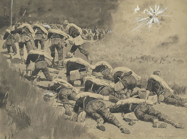 Explosion Drawing - The Artful Dodgers  Shrapnel Coming Down The Road by Frederic Remington