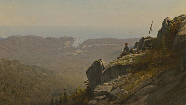 Men At Work Wall Art - Painting - The Artist Sketching At Mount Desert by Sanford Robinson Gifford