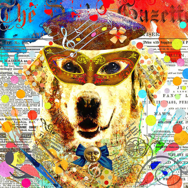 Golden Retriever Mixed Media - Dog Artist by Stacey Chiew