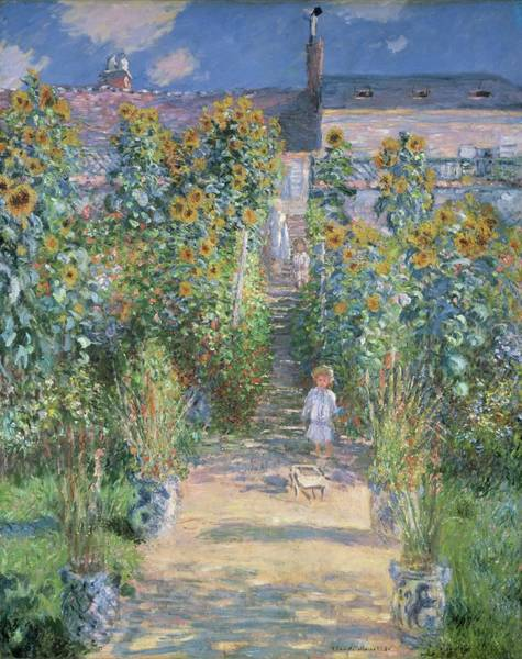 Wall Art - Painting - The Artists Garden At Vetheuil by Claude Monet