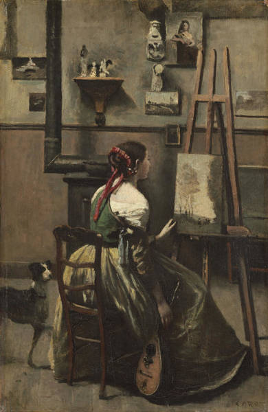 Wall Art - Painting - The Artists Studio by Jean-baptiste-camille Corot