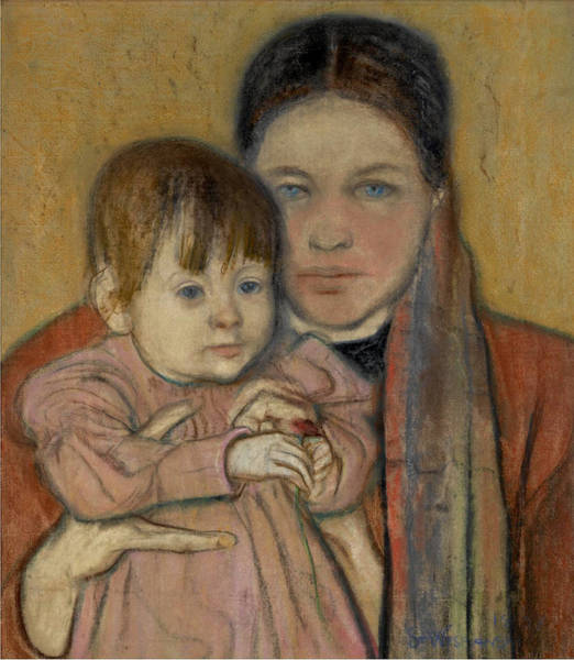 Wall Art - Drawing - The Artist's Wife And Daughter by Stanislaw Wyspianski