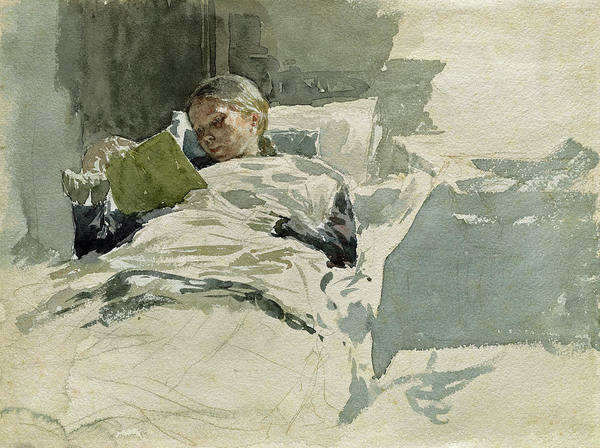 Painting - The Artist's Wife Reading In Bed by Leopold von Kalckreuth