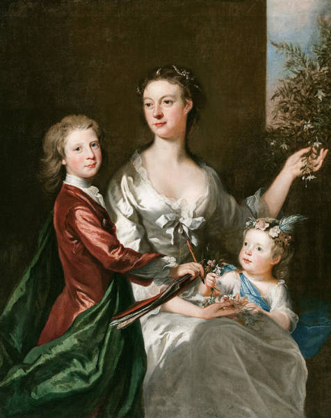 Wall Art - Painting - The Artist's Wife Susanna, Son Anthony And Daughter Susanna by Joseph Highmore