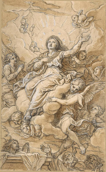 Wall Art - Drawing - The Assumption Of The Virgin by Michel Corneille the Younger