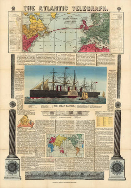 Atlantic Drawing - The Atlantic Telegraph - Submarine Cables In Europe And North America - Historic Map by Studio Grafiikka