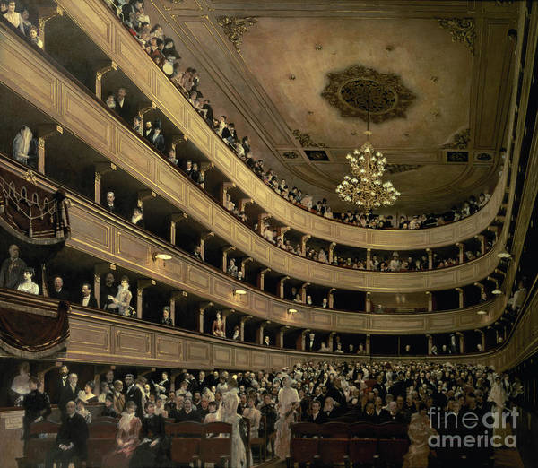 Spectators Painting - The Auditorium Of The Old Castle Theatre by Gustav Klimt
