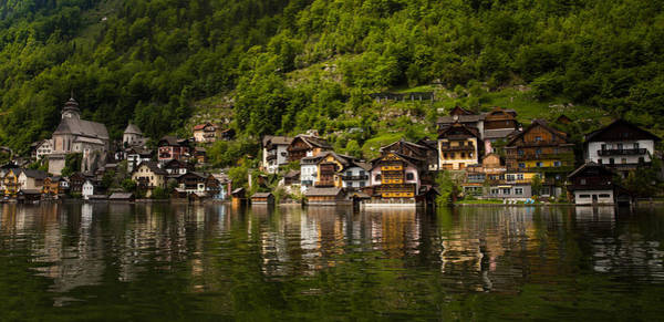 Wall Art - Photograph - The Austrian Village Of Hallstatt Reflecting In Lake Halstatt by Bridget Calip