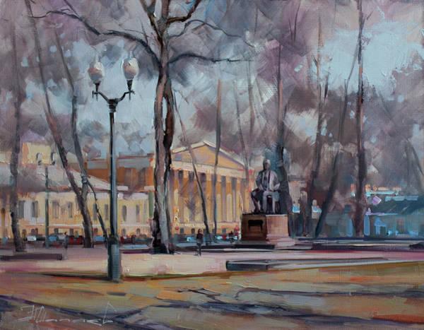 Boulevard Painting - The Autumn Plein Air. Moscow, Strastnoy Boulevard. by Alexey Shalaev