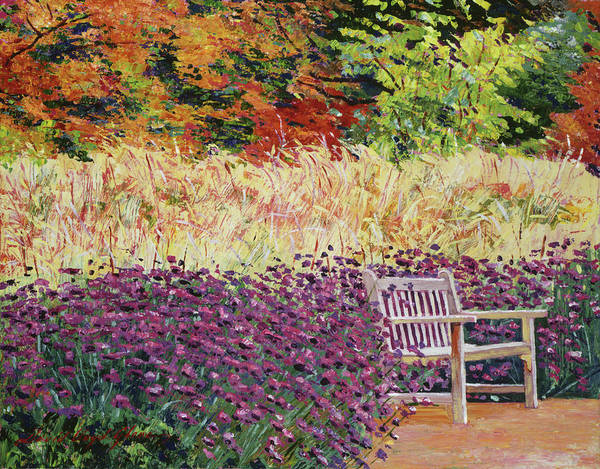 Painting - The Autumn Sunbench by David Lloyd Glover