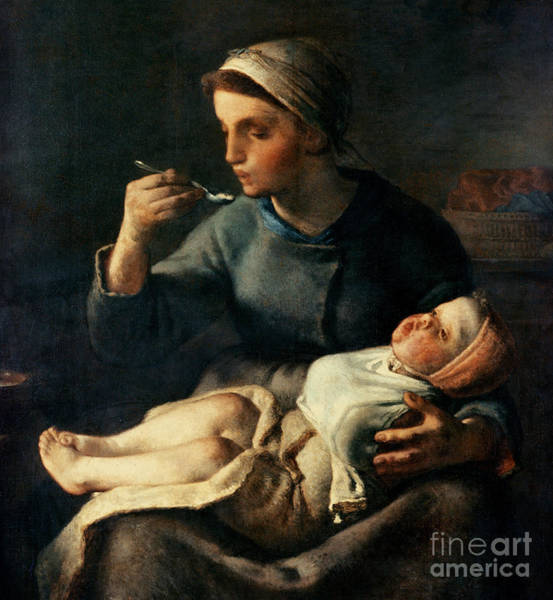 Painting - The Baby's Cereal by Jean Francois Millet