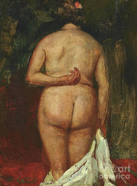 Intimate Portrait Wall Art - Painting - The Back Of The Nude by Charles Cottet
