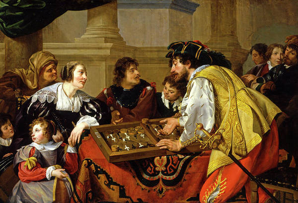 Wall Art - Painting - The Backgammon Players by Theodoor Rombouts
