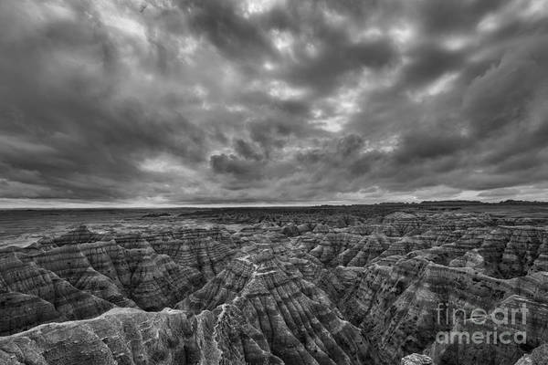 Fire In The Sky Wall Art - Photograph - The Badlands Bw by Michael Ver Sprill