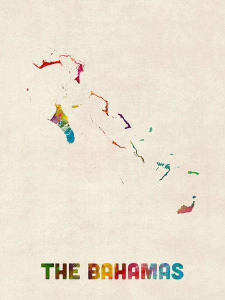 Bahamas Wall Art - Digital Art - The Bahamas Watercolor Map by Michael Tompsett