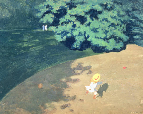 Corner Painting - The Balloon Or Corner Of A Park With A Child Playing With A Balloon by Felix Edouard Vallotton
