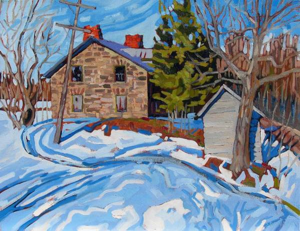 Barn Snow Painting - The Bane Of Bains Road by Phil Chadwick