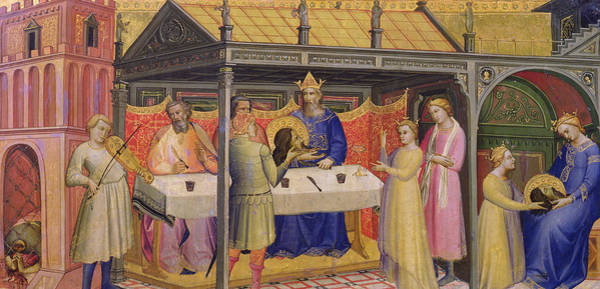 Beheaded Wall Art - Painting - The Banquet Of Herod by Lorenzo Monaco