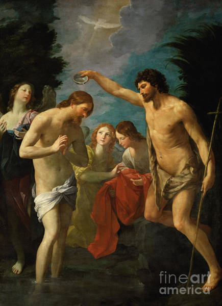 Wall Art - Painting - The Baptism Of Christ, 1623  by Guido Reni