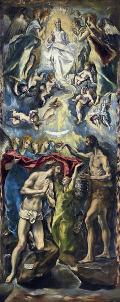 Redeemer Wall Art - Painting - The Baptism Of Christ by El Greco