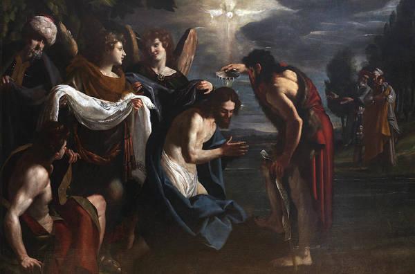 Italian Painters Wall Art - Painting - The Baptism Of Christ by Emilio Savonanzi
