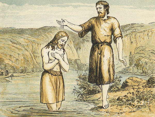 Gospel Drawing - The Baptism Of Jesus Christ by English School