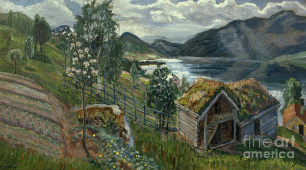 Nikolai Astrup Painting - The Barn At Sandalstrand by Nikolai Astrup