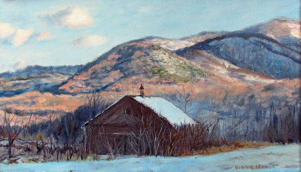 Wall Art - Painting - The Barn In Winter by Bonnie Mason