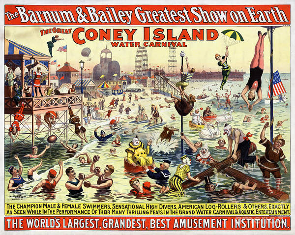 Wall Art - Painting - The Barnum And Bailey Greatest Show On Earth The Great Coney Island Water Carnival by Vintage Treasure