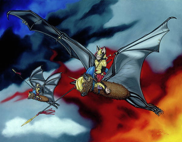Painting - The Bat Riders by Paxton Mobley