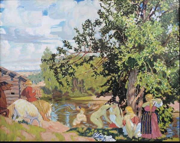 Russian River Painting - The Bath 1910 by Boris Kustodiev