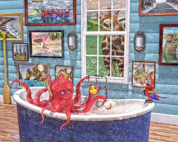Parrot Digital Art - The Bath by Betsy Knapp