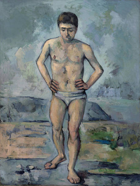 Fashion Plate Painting - The Bather 1885 by Paul Cezanne