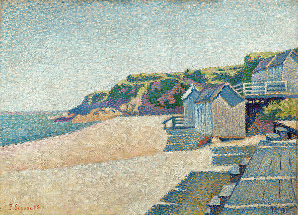 Azure Painting - The Bathing Cabins, Opus 185 by Paul Signac