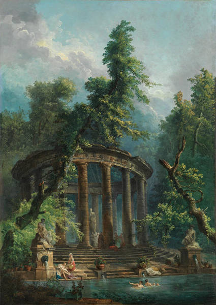 Wall Art - Painting - The Bathing Pool by Hubert Robert
