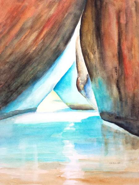 Painting - The Baths Calming Reflections by Carlin Blahnik CarlinArtWatercolor