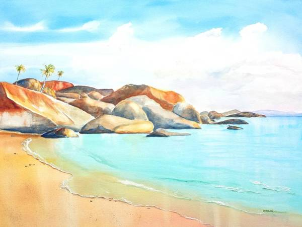 Painting - The Baths Virgin Gorda Beach Boulders by Carlin Blahnik CarlinArtWatercolor