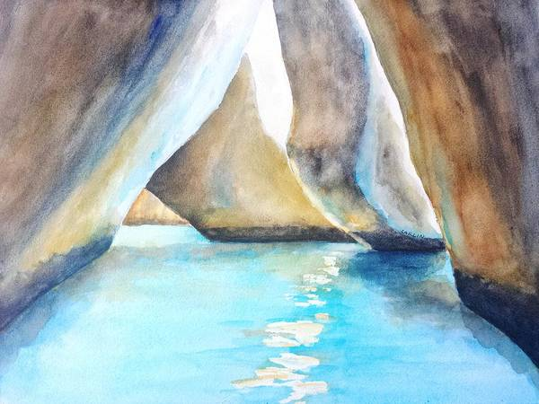 Painting - The Baths Water Cave Path by Carlin Blahnik CarlinArtWatercolor