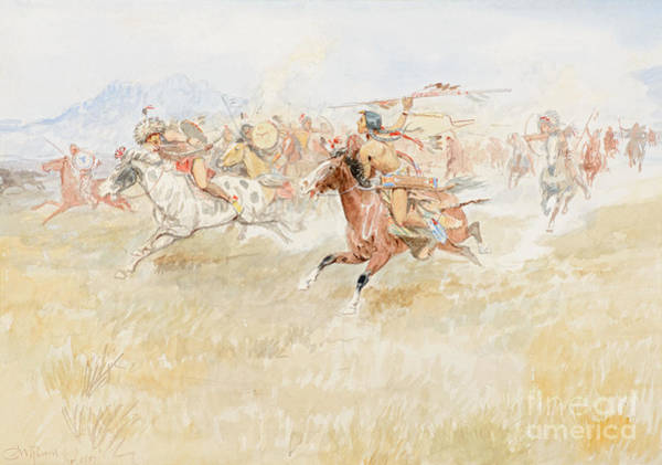 Painting - The Battle Between The Blackfeet And Piegans by Celestial Images